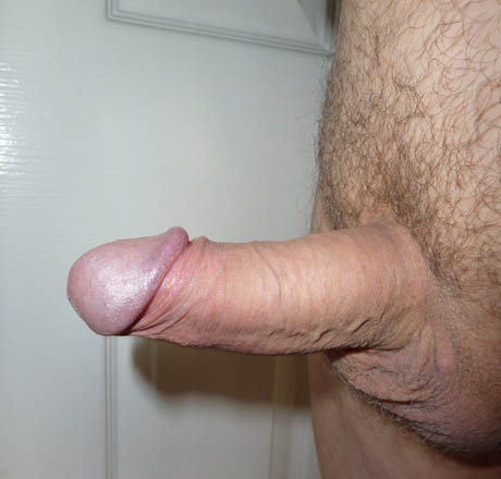 Erect penis - 5 inches long - male 55 years old